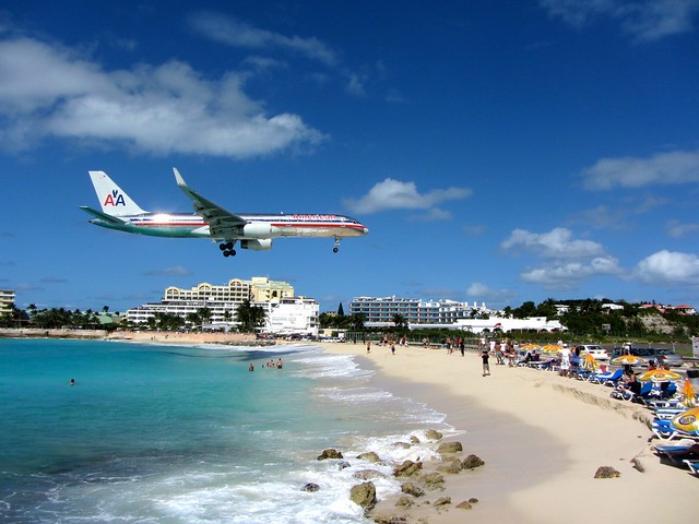 American Airlines Plane Looming Over Maho Beach