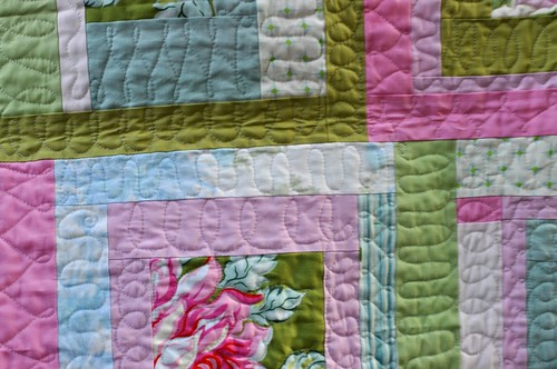 quilting closeup, rose baby quilt