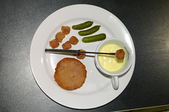 Thumbnail image for [4th course] Poor man's Cristmas Eve dinner: Breaded corned beef and mortadella with fake cheese fondue