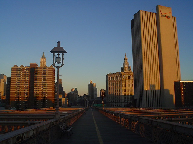 lower manhattan view from top of brooklyn bridge in new york city usa