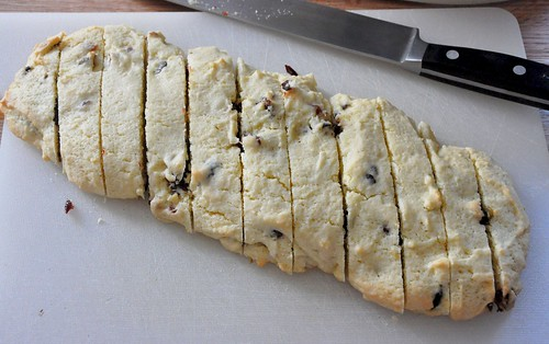 sliced biscotti after first baking