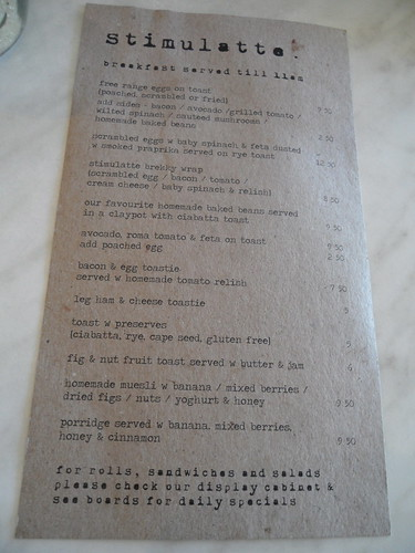 Stimulatte Food Menu