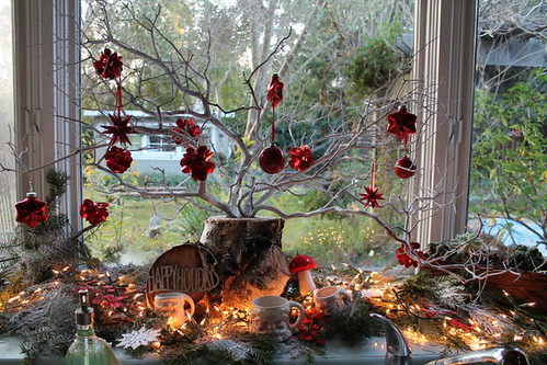 Manzanita Tree with Red Ornaments in Birch Log