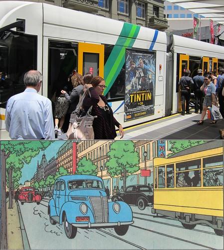 Tintin on a tram / a tram in Tintin