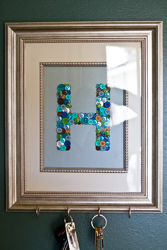 Pinterest Projects: Framed Button Monogram Key Holder