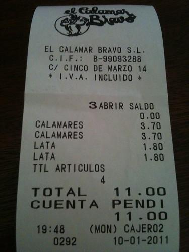 Zaragoza | El Calamar Bravo | Ticket