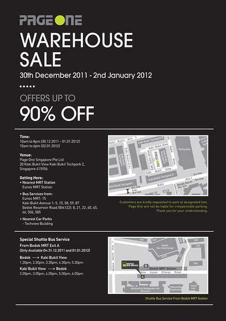 PageOne Singapore - Warehouse sale