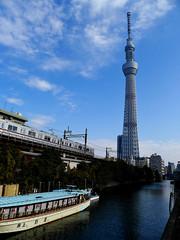 Tokyo sky tree, train, and Yakatabune.