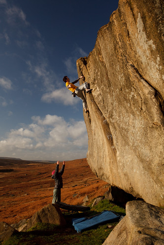James Blay amidst typical gritstone colours on Not To Be Taken Away, Stanage Plantation