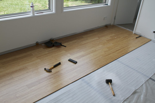 First section of bamboo floating floor installed