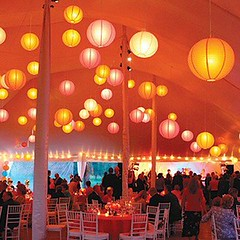 Orange and hot pink paper lanterns