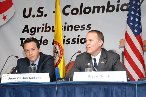 Juan Carlos Cadena (left), Colombia's Director of Economic Affairs, Ministry of Commerce, Industry and Tourism, and Bryce Quick, Associate Administrator for USDA's Foreign Agricultural Service, participate in a welcome plenary session for a USDA trade mission with Panama and Colombia, which took place in Bogota Nov. 14-17, 2011. With 24 U.S. agricultural companies participating, it was the largest delegation ever on a USDA trade mission. Photo by Fernando Soto, U.S. Embassy Bogota.