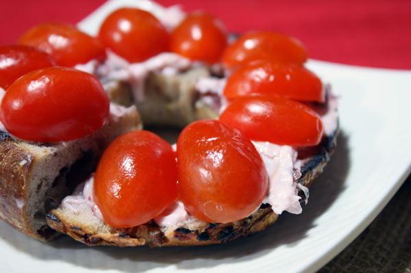 Grape Tomato and Cranberry Cream Cheese Bagel