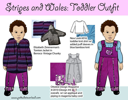 Stripes & Wales Sweater & Overalls toddler outfit sketch