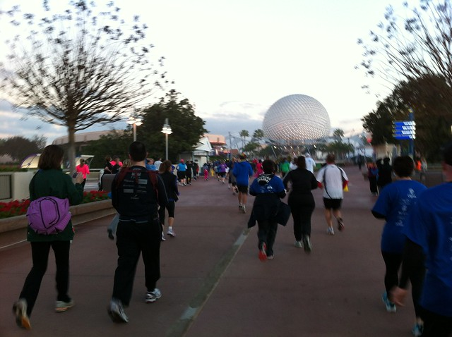 2012 Disney Family Fiesta 5k #runDisney running toward Spaceship Earth at Epcot.