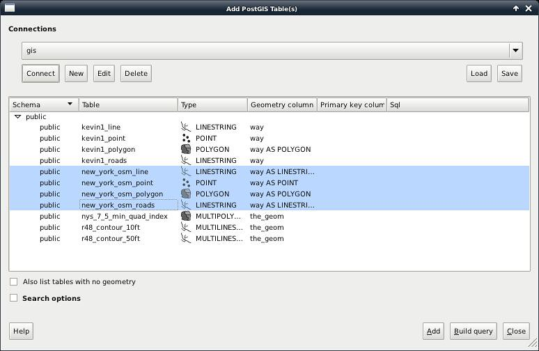 Screenshot: Adding PostGIS layers