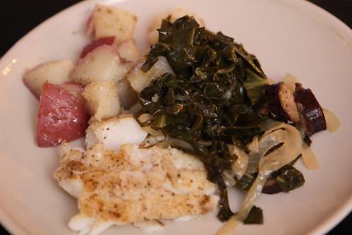 Cod, Collard Greens, and New Potatoes