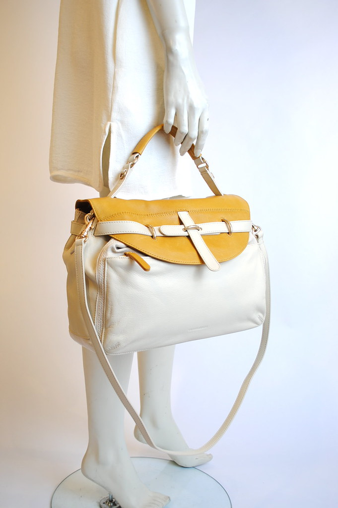 Leather and Linen Canvas Bag
