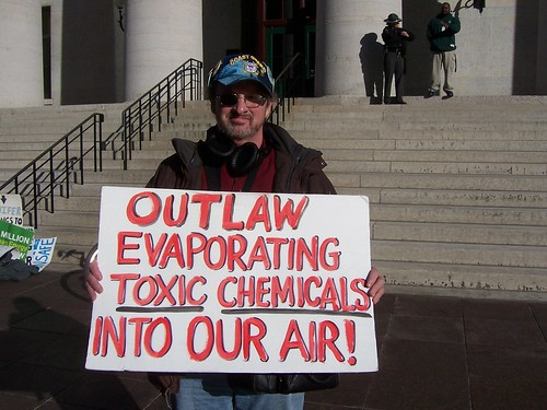 Sean O�Toole from Warren, Ohio at protest in Columbus for moratorium on fracking