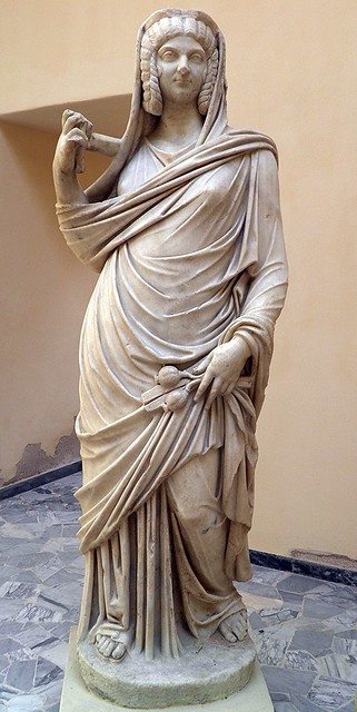 Julia Domna (wife of Septimius Severus) as Ceres, from the Portico of the Fountain with oil-lamp, 3rd century AD, Ostia Antica, Italy