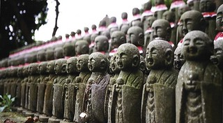 Traditional Jizo statues in Kamakura (Japan 1998)