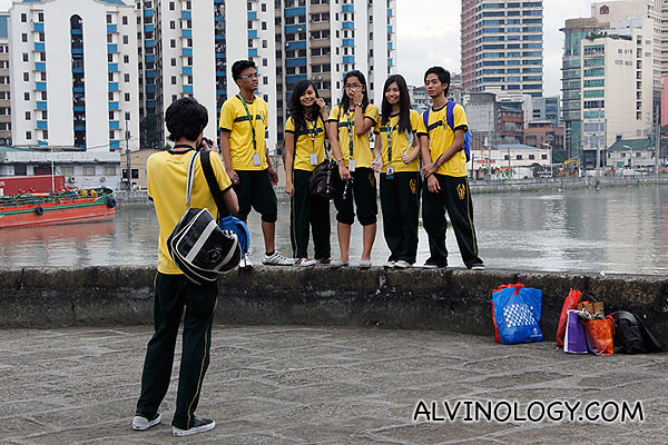Local kids taking a photo