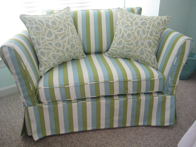 Small Loveseat With Custom Striped Slipcover In Outdura Fabric Flickr Photo Sharing