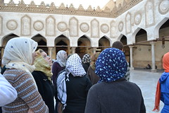 Anna Hershey and other students admire the architecture of a mosque