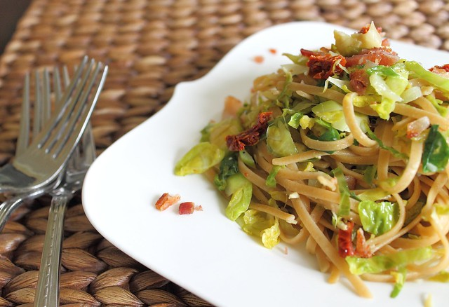 Brussels sprouts bacon and sun-dried tomato pasta