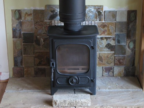 Hand made tiles now applied to fireplace! by rowsew