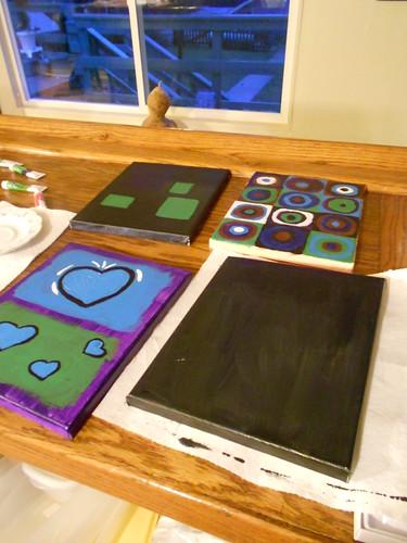 Modern Art Grouping with acrylics