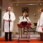 Paxton Whitehead as Dr. Rance' Susan O'Connor as Geraldine Barclay' and Tim Donoghue as Dr. Prentice in the Huntington Theatre Company's production of