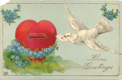 Loves Greetings-Vintage Valentine Postcard