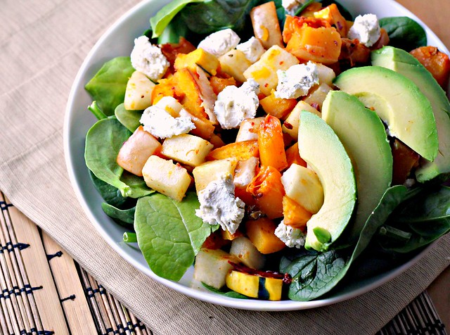 Chipotle Squash Salad with Jicama, Goat Cheese and Avocado from Eats Well with Others