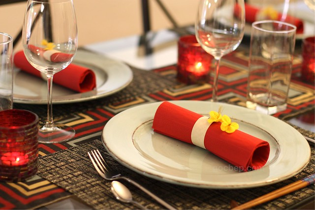 Lunar new year dinner table setting
