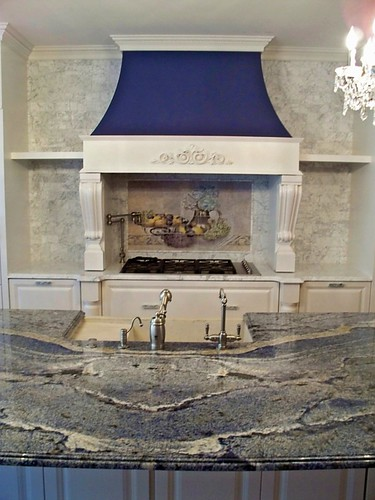 french manor kitchen, marble backplash, backsplash mural