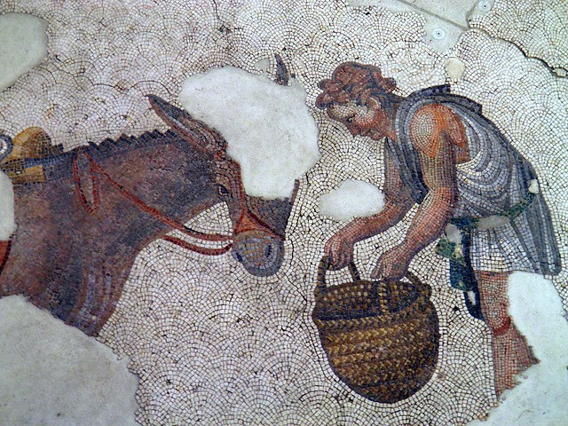 A man feeding a donkey, detail of the 6th century mosaic floor from the Palatium Magnum (Constantinople's Great Palace), Palace Mosaic Museum, Istanbul
