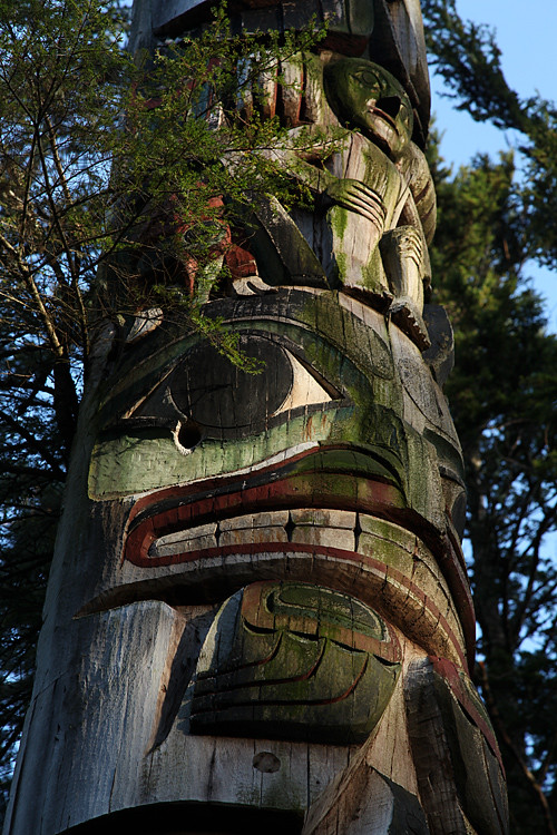 close up of totem pole, Totems Historic District, Kasaan, Alaska