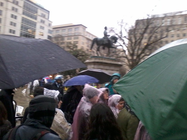 Protesters forming a line at the library tent