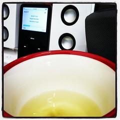 "Listening to ""Speak Love"" while drinking green tea"