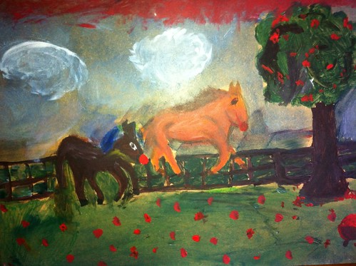 My niece age 8 did this with poster paint 20/16 I think it's fantastic :-)