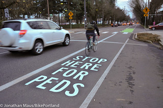 new markings on N Vancouver at Graham-2