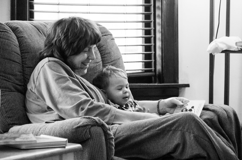 Grandma and Micah reading together
