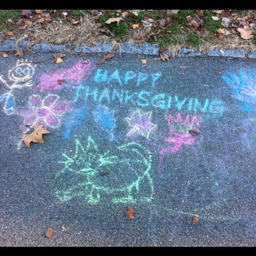 Happy Thanksgiving: A chalk drawing in Central Park