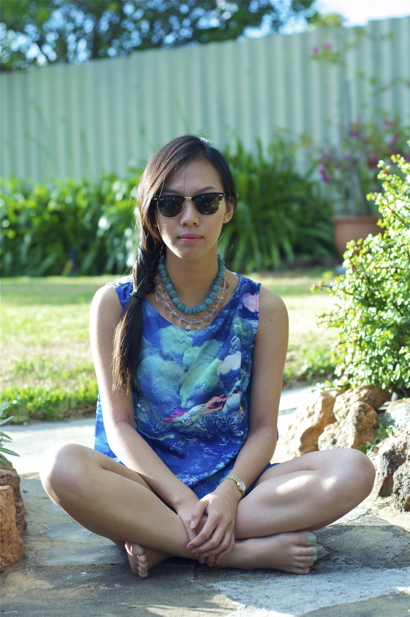 Wearing: Pistol Tunic in Tank Print by Poppy Lissiman
