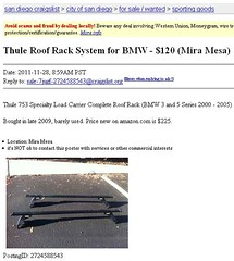 Craigslist For Sale Ad: Thule 753 Roof Rack | San Diego, CA | $120