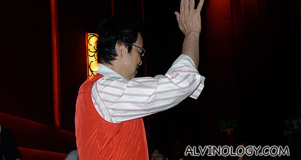 Raymond Wong coming into the cinema hall at the gala premiere
