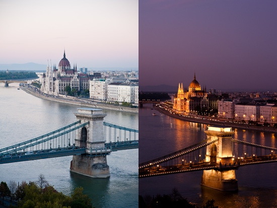 Chain Bridge day and night