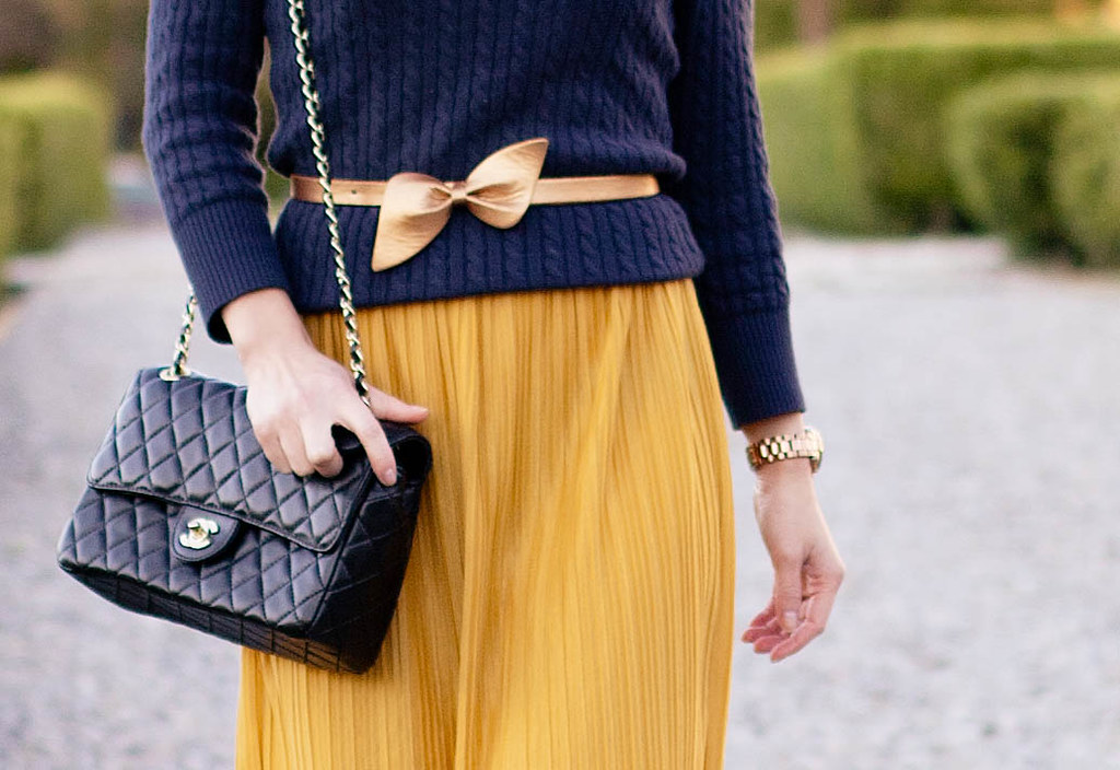 gap navy cable sweater, forever 21 lace mustard pleats skirt dress, michael kors rose gold small runway watch mk5430, chanel black quilted m/l flap purse, sole society marco santi dash nude pumps, forever 21 flower earrings