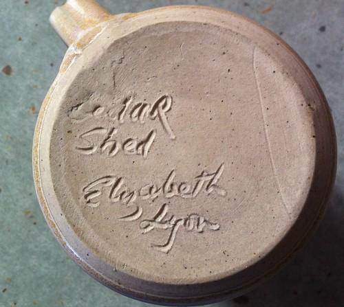 Lyon, Elizabeth incised signature Cedar Shed Pottery